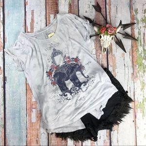 Lucky Brand Graphic Tee Elephant Boho Vibes Gray